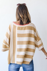 Oversized Striped Top in Camel Back View