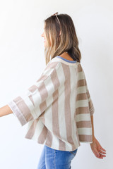 Oversized Striped Top in Mint Side View