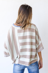 Oversized Striped Top in Mint Back View