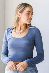 Blue - Everyday Crop Top Front View on model