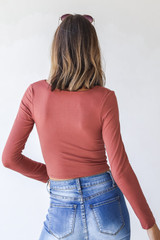 Everyday Crop Top in Marsala Back View