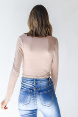 Everyday Crop Top in Taupe Back View