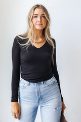 V-Neck Jersey Knit Top Front View