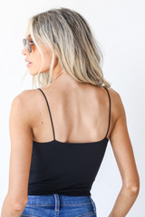 Everyday Cropped Tank in Black Back View