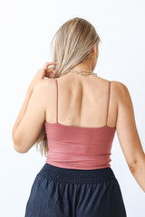 Everyday Cropped Tank in Marsala Back View