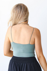 Everyday Cropped Tank in Sage Back View
