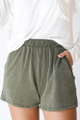 Olive - Model wearing Corded Shorts