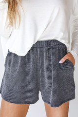 Charcoal - Corded Shorts Front View