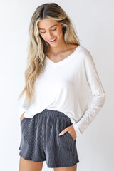 Charcoal - Corded Shorts Front View on model