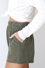 Corded Shorts in Olive Side View