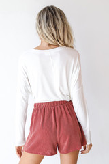 Corded Shorts in Rust Back View