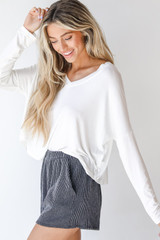 Corded Shorts in Charcoal Side View