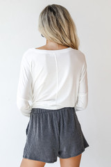 Corded Shorts in Charcoal Back View