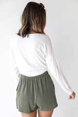 Corded Shorts in Olive Back View
