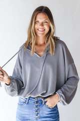 Grey - Corded Hoodie from Dress Up