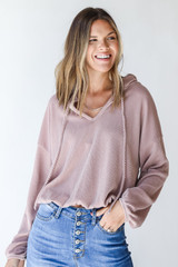 Blush - Dress Up model wearing a Corded Hoodie