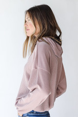 Corded Hoodie in Blush Side View