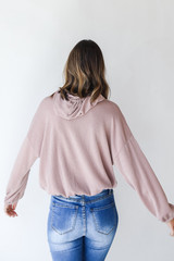 Corded Hoodie in Blush Back View