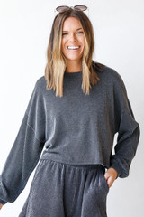 Charcoal - Model wearing a Corded Pullover