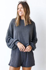 Charcoal - Dress Up model wearing a Corded Pullover