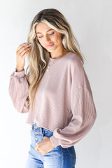 Corded Pullover in Blush Side View