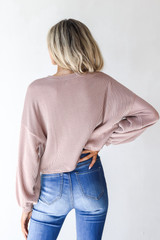 Corded Pullover in Blush Back View