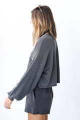 Corded Pullover in Charcoal Side View