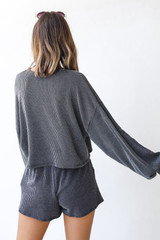 Corded Pullover in Charcoal Back View