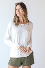 White - Everyday Pocket Tee Front View on model