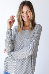 White/Black - Dress Up model wearing an Everyday Pocket Tee with jeans