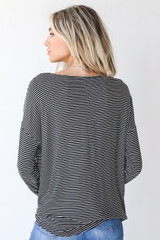 Everyday Pocket Tee in Black/White Back View