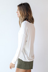 Everyday Pocket Tee in White Side View