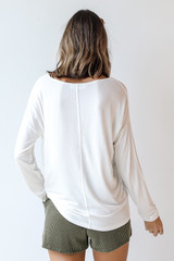 Everyday Pocket Tee in White Back View