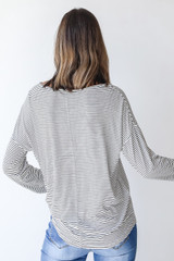 Everyday Pocket Tee in White/Black Back View