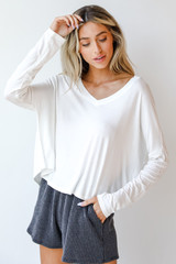 White - Model wearing an Everyday Tee with lounge shorts