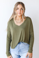 Olive - Model wearing an Everyday Tee with denim