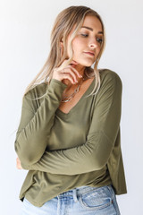 Olive - Dress Up model wearing an Everyday Tee with denim