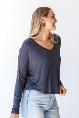 Everyday Tee in Charcoal Side View