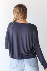 Everyday Tee in Charcoal Back View