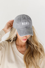 Grey - Mama Embroidered Hat
