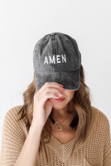 Black - Model wearing the Amen Embroidered Hat
