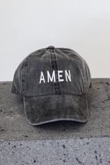 Black - Flat Lay of the Amen Embroidered Hat