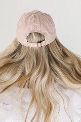 Amen Embroidered Hat in Blush Back View