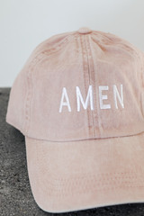 Amen Embroidered Hat in Blush Front View