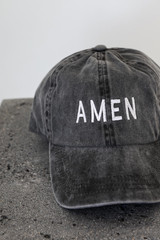 Amen Embroidered Hat in Black Front View