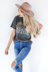 Model wearing the Breathe Tee with jeans