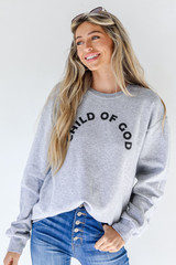 Heather Grey Child Of God Pullover Front View