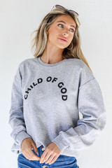 Heather Grey Child Of God Pullover Front View on model