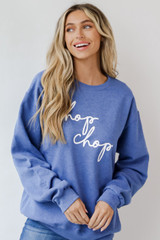 Model wearing a Chop Chop Pullover