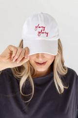 White - Model wearing the Glory Glory Embroidered Hat